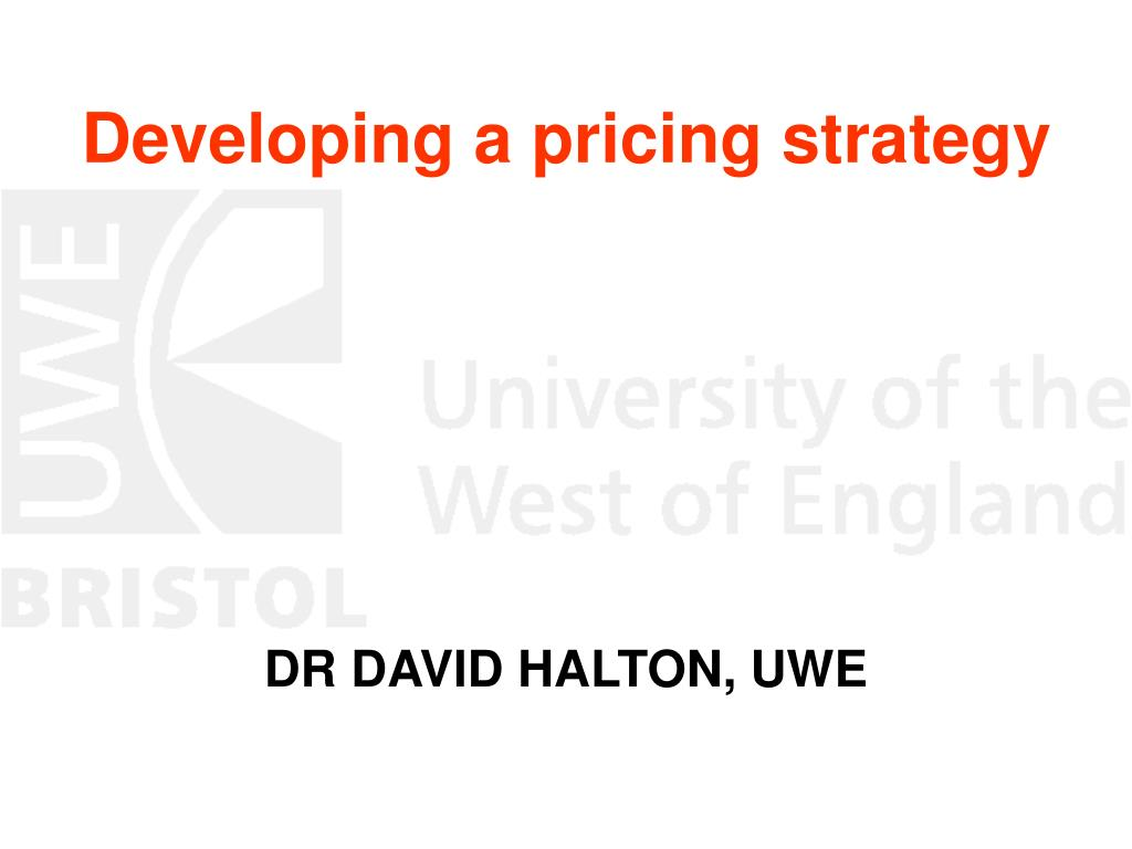 developing a pricing strategy l.