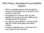 gps history development and satellite system