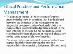 ethical practice and performance management