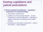 existing legislations and judicial prescriptions