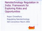 nanotechnology regulation in india framework for exploring risks and opportunities