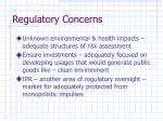 regulatory concerns