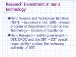 research investment in nano technology
