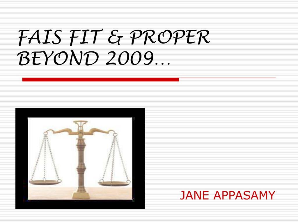 fais fit proper beyond 2009 l.