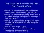 the existence of evil proves that god does not exist