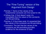 the fine tuning version of the argument from design