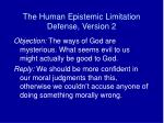 the human epistemic limitation defense version 2
