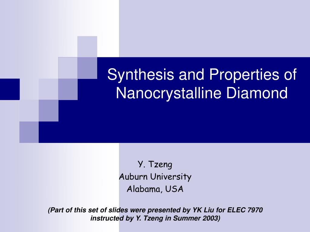 synthesis and properties of nanocrystalline diamond l.