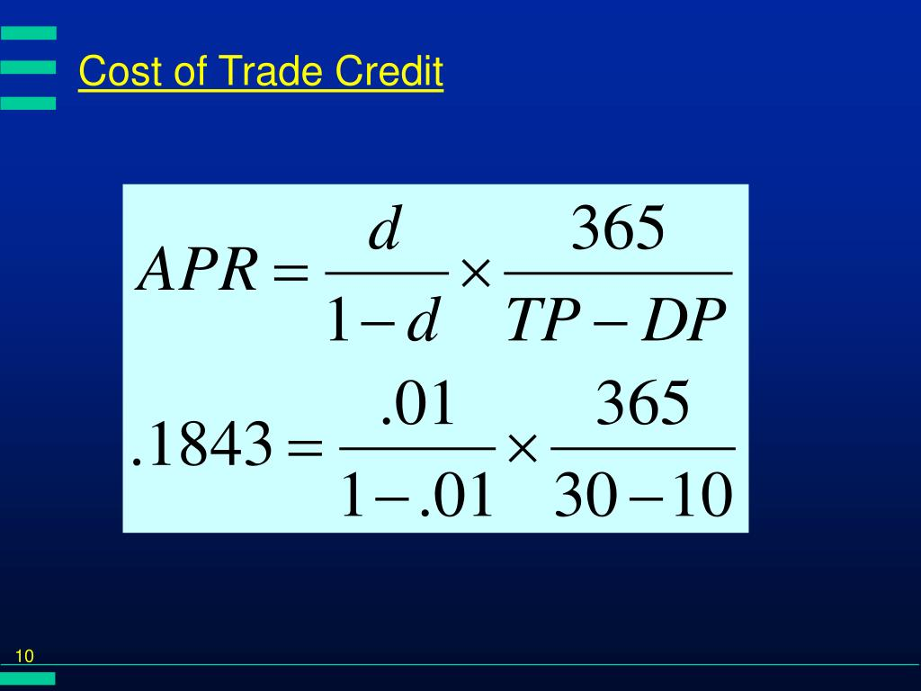 Cost of Trade Credit