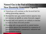natural gas is the fuel of choice for new electricity generation capacity
