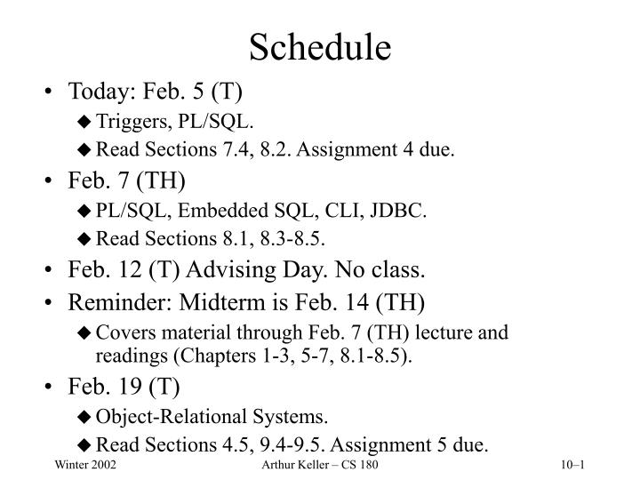 schedule n.
