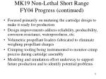 mk19 non lethal short range fy04 progress continued