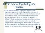 hpec school psychologist s practice