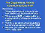 pre deployment activity communications plan