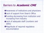 barriers to academic cme