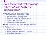 e seek e nvironment that encourages critical self reflection peer collective inquiry