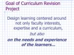 goal of curriculum revision project