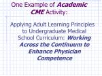 one example of academic cme activity