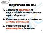 objetivos do bg