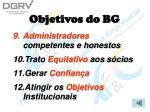 objetivos do bg25