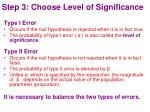 step 3 choose level of significance