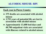 alcohol misuse rpi