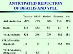 anticipated reduction of deaths and ypll