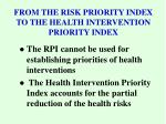 from the risk priority index to the health intervention priority index
