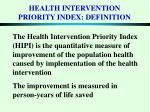 health intervention priority index definition