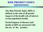 risk priority index definition