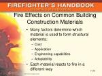 fire effects on common building construction materials