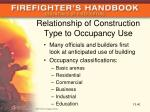 relationship of construction type to occupancy use