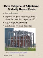three categories of adjustment 2 modify hazard events