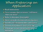 when preparing an application