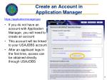 create an account in application manager