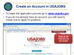 create an account in usajobs