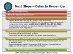 next steps dates to remember