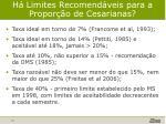 h limites recomend veis para a propor o de cesarianas