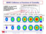 rhic collisions as functions of centrality
