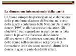 la dimensione internazionale della parit