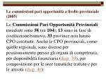 le commissioni pari opportunit a livello provinciale 2005