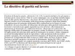 le direttive di parit sul lavoro