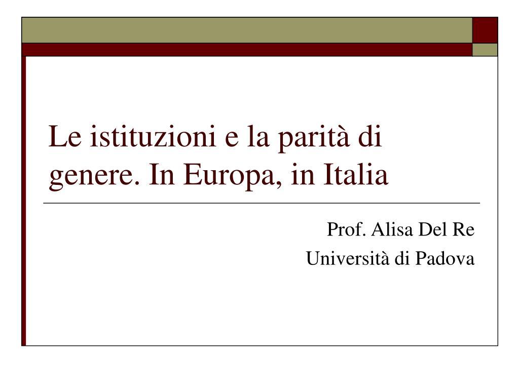 le istituzioni e la parit di genere in europa in italia l.