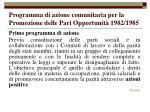 programma di azione comunitaria per la promozione delle pari opportunit 1982 1985