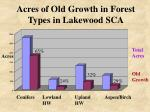 acres of old growth in forest types in lakewood sca