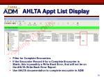 ahlta appt list display