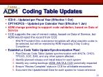 coding table updates