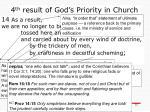 4 th result of god s priority in church