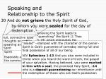 speaking and relationship to the spirit