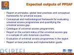 expected outputs of ppiaf
